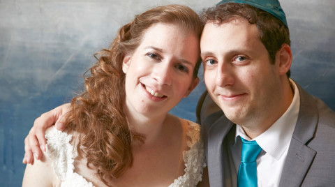 Wedding portrait of bride and groom.