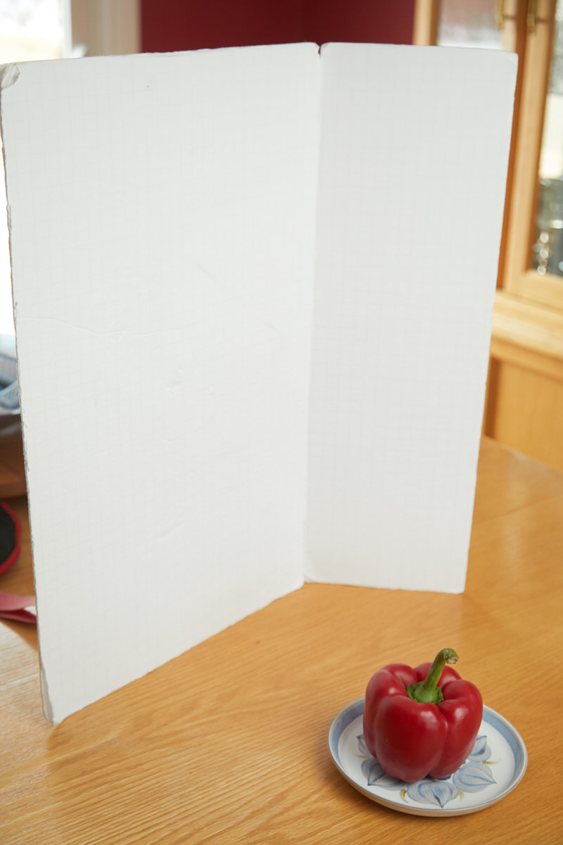 A foamcore board used as a reflector.