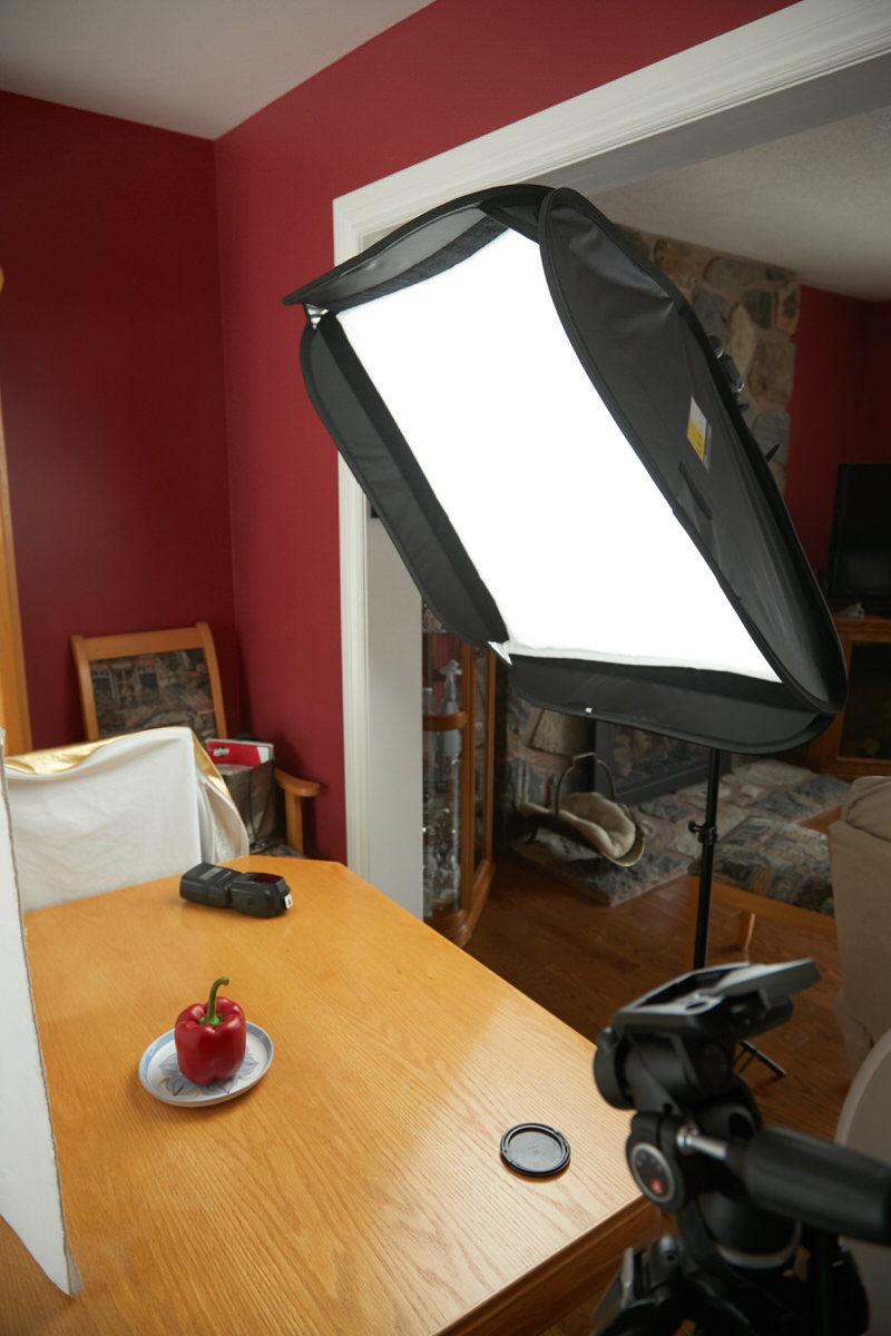 A basic food photography setup.