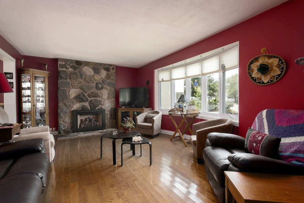 A real estate photo of a room with proper perspective.