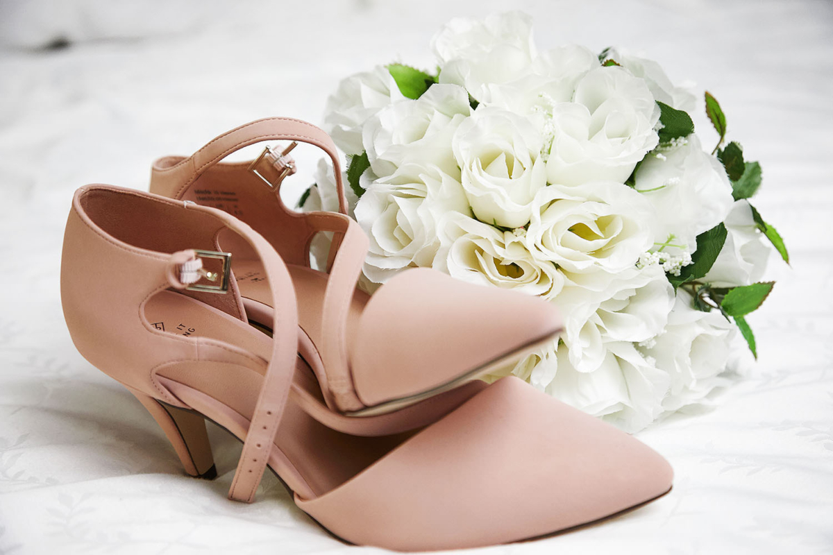 wedding bouquet and shoes